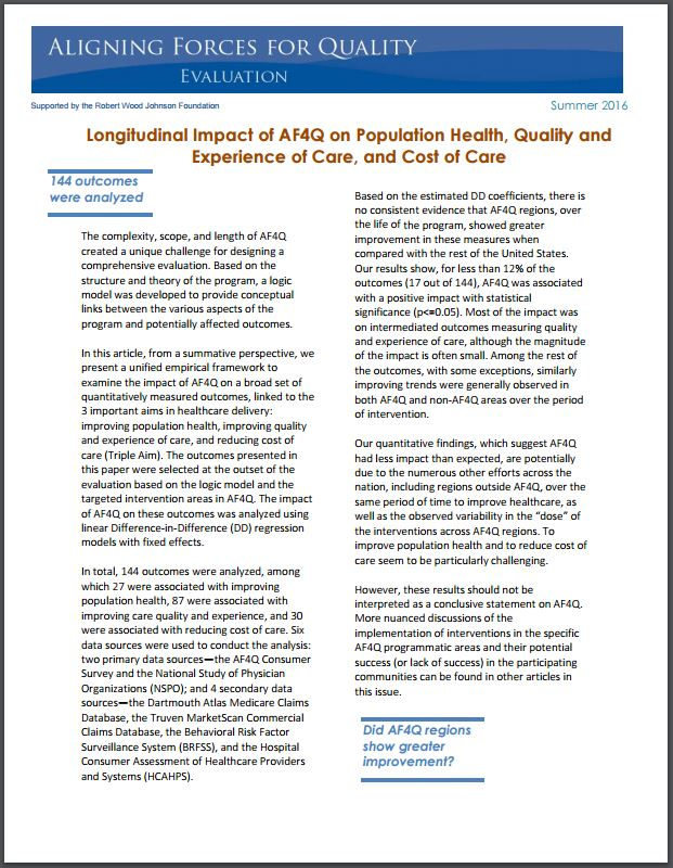 The Longitudinal Impact of Aligning Forces for Quality on Measures of Population Health, Quality and Experience of Care, and Cost of Care