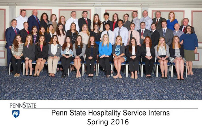 SHM students serving as Penn State Hospitality Services interns, Spring 2016