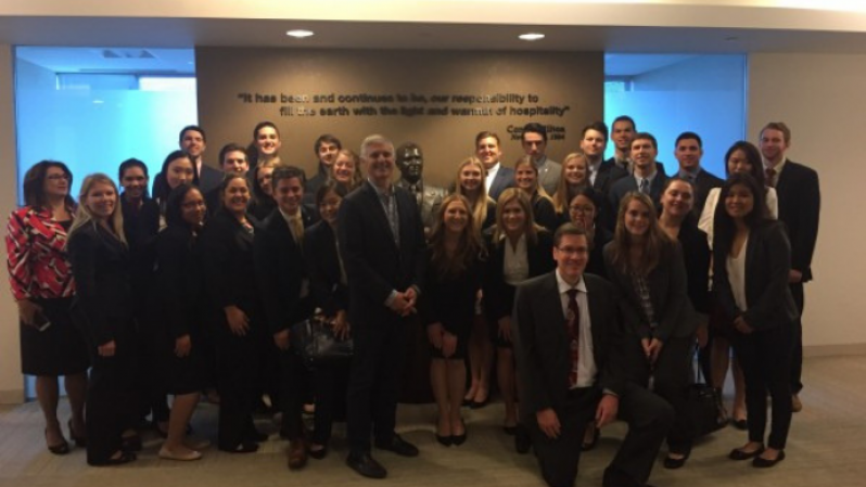 O'Neill's Hospitality Real Estate class toured the Hilton Worldwide Headquarters in McLean, VA, and met with Hilton CEO, Chris Nassetta. Donna Quadri-Felitti, Marvin Ashner Director and Brian Black, director of Hospitality Industry and Alumni Relations joined on the class trip.