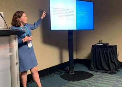 Alaina Eck presenting at 2019 ASHA Conference.