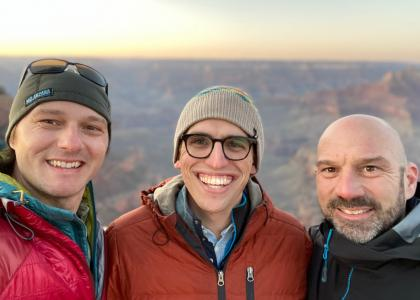 Derrick Taff, Will Rice, and Peter Newman with the Grand Canyon in the background