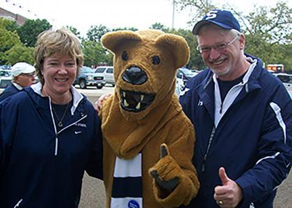 Steve and Sue Landes with the Nittany Lion.