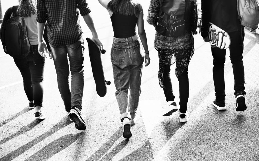 teenagers walking