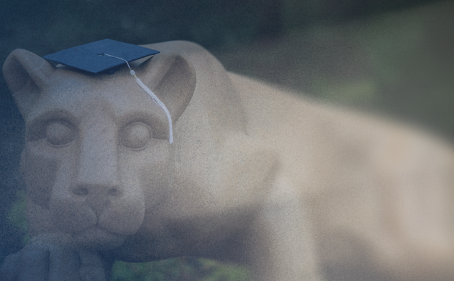 Nittany Lion Shrine with Mortarboard