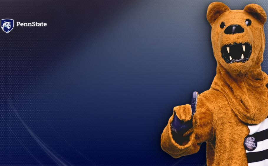 Nittany Lion mascot on the blue background.