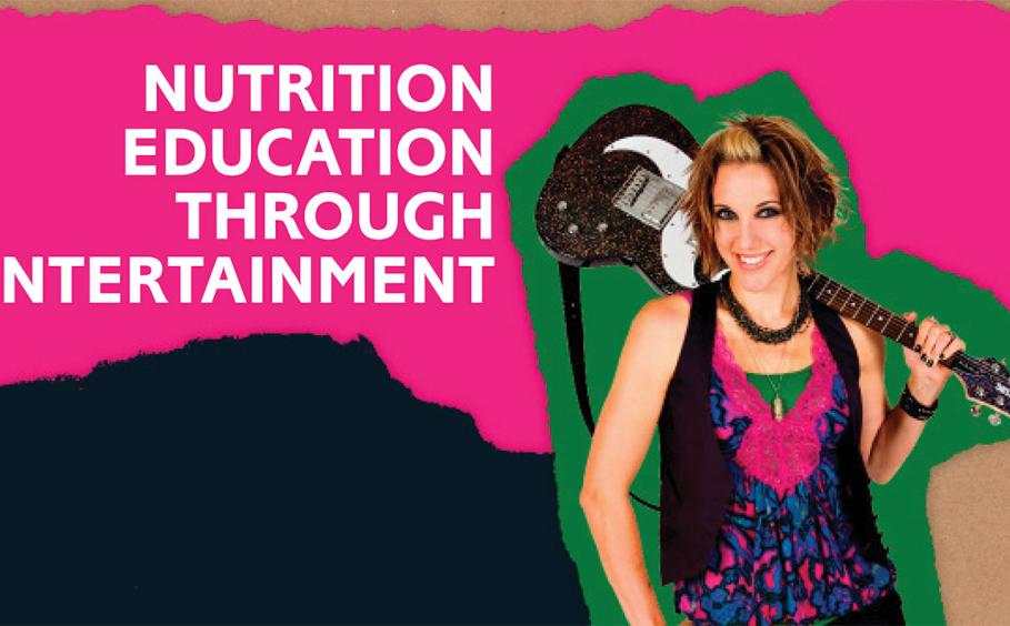 Woman with a guitar on her shoulder. With bright pink, green and dark blue paper shreds. Nutrition Education Through Entertainment
