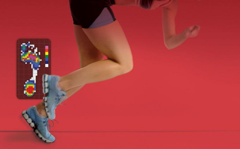 Woman running off the starting blocks on a red background. Digital graphic of foot pressure.