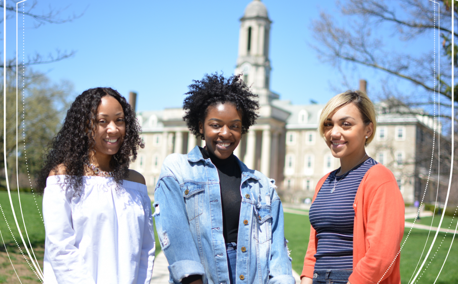 Three diverse HHD undergraduate women in front of Old Main