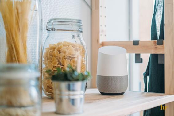 Pasta in glass jar with voice assistant machine